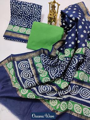 Oceanic Wave Hand Block Printed Maheshwari Silk Suit with Zari Border