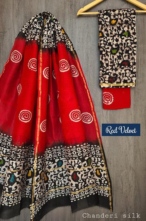 Red Velvet Hand Block Printed Chanderi Silk Suit