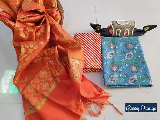 Glossy Orange Hand Block Print  Cotton Suit With Exclusive Banarasi Dupatta