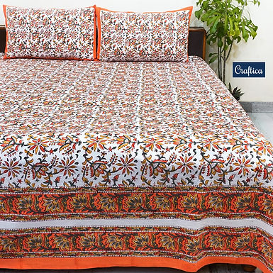 Craftica Hand Block Print Cotton Bed Sheet with 2 Pillow Cover