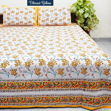 Vibrant Yellow Hand Block Print Cotton Bed Sheet with 2 Pillow Cover