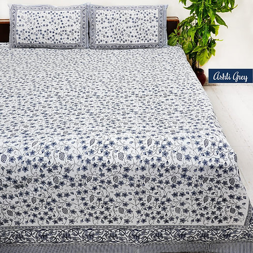 Ashli Grey Hand Block Print Cotton Bed Sheet with 2 Pillow Cover