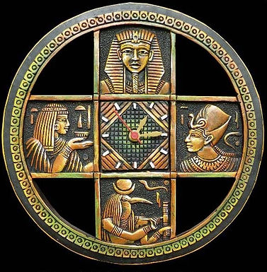 Terracotta 3D Egyptian Temple Wall Clock