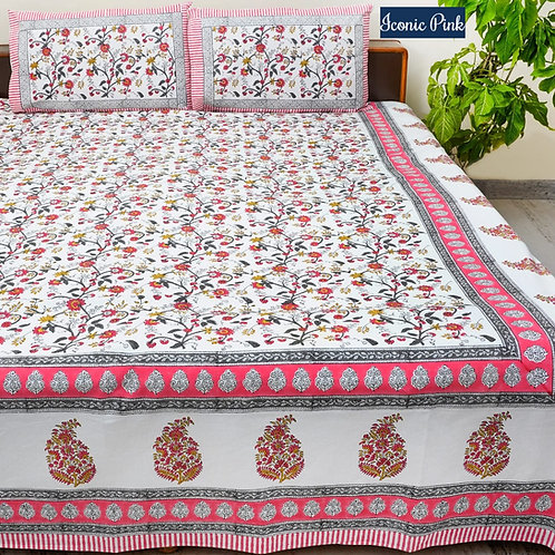 Iconic Pink Hand Block Print Cotton Bed Sheet with 2 Pillow Cover
