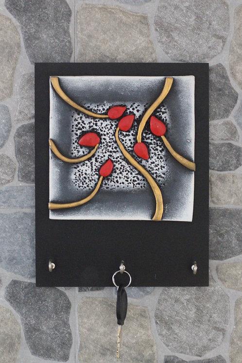 Terracotta 3D Red Bud Key Hanger