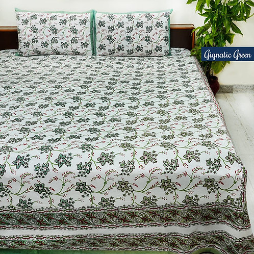 Gignatic Green Hand Block Print Cotton Bed Sheet with 2 Pillow Cover