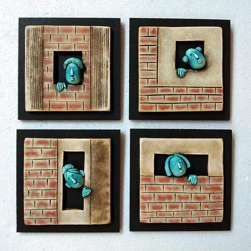 Terracotta 3D Seeking Popeye Wall Mural Set of 4 Pieces