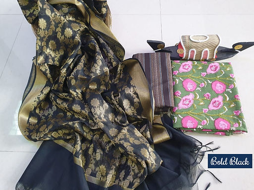 Bold Black Hand Block Print  Cotton Suit With Exclusive Banarasi Dupatta