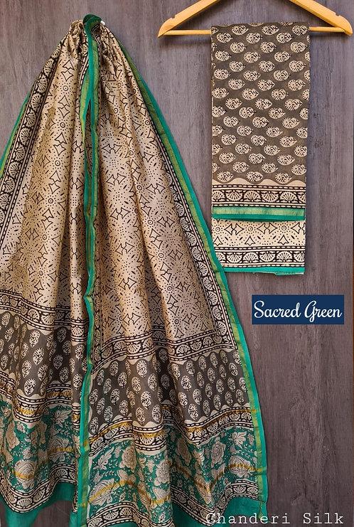 Scared Green Hand Block Printed Chanderi Silk Suit