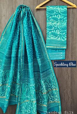 Sparkling Blue Hand Block Printed Chanderi Silk Suit
