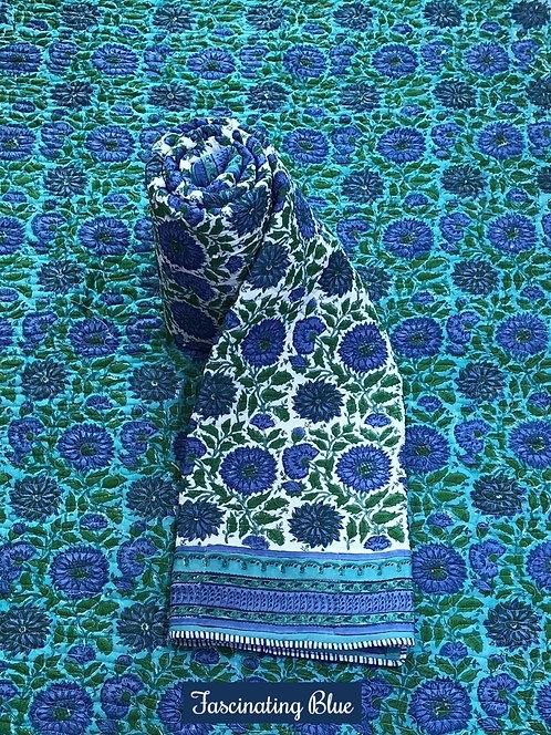 Fascinating Blue Hand-Block Print Cotton Reversible Single Bed Comforter