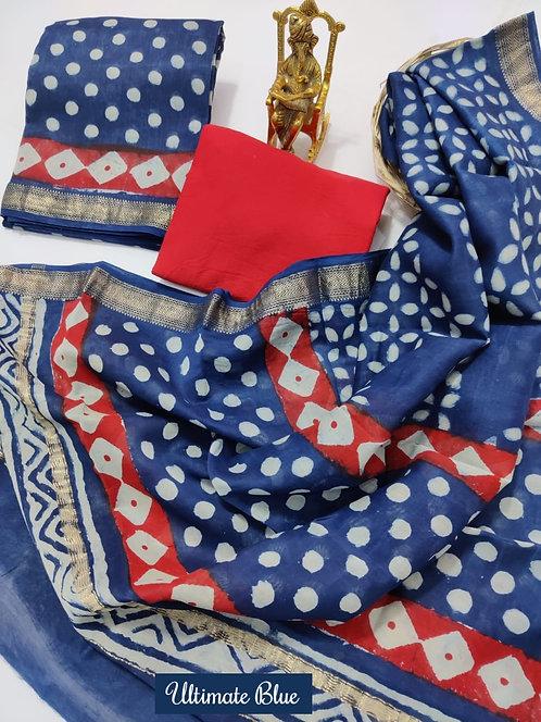 Ultimate Blue Hand Block Printed Maheshwari Silk Suit with Zari Border
