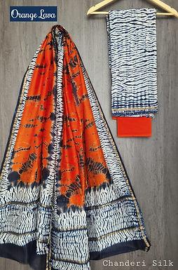 Orange Lava Hand Block Printed Chanderi Silk Suit