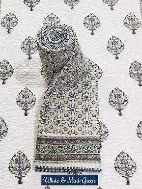 White & Mint-Green Hand-Block Print Cotton Reversible Single Bed Comforter