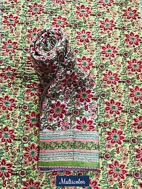 Multicolor Hand-Block Print Cotton Reversible Single Bed Comforter