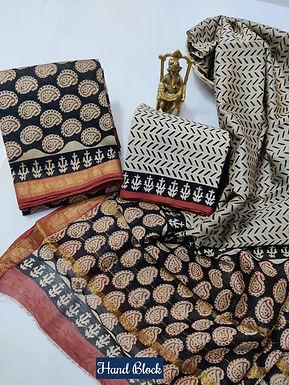 Hand Block Printed Maheshwari Silk Suit with Zari Border