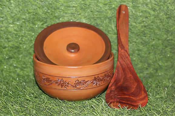 Terracotta Baking & Serving Bowl with Lid