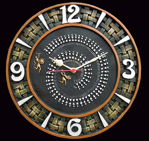 Terracotta 3D Warli Art Wall Clock