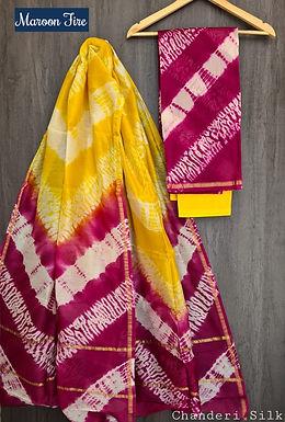 Maroon Fire Hand Block Printed Chanderi Silk Suit