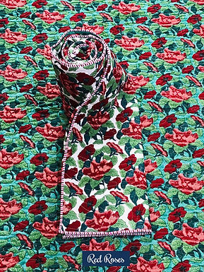 Red Roses Hand-Block Print Cotton Reversible Single Bed Comforter