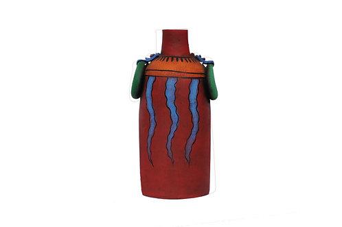 Terracotta Blue Flame Vase