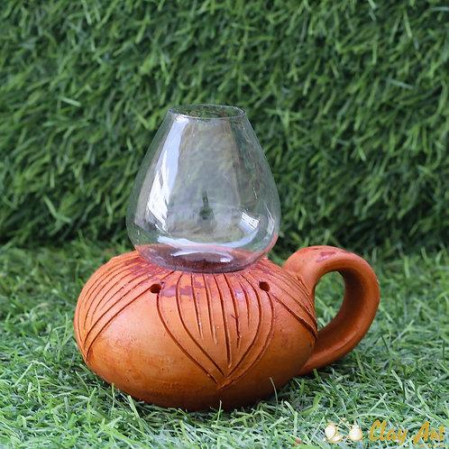 Sitting Terracotta Antique Look Oil Lamp