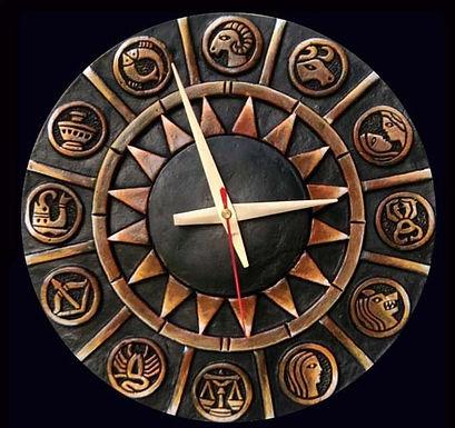 Terracotta 3D Zodiac Sign Wall Clock