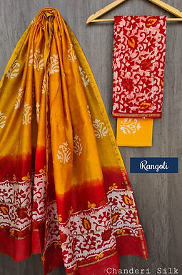 Rangoli Hand Block Printed Chanderi Silk Suit