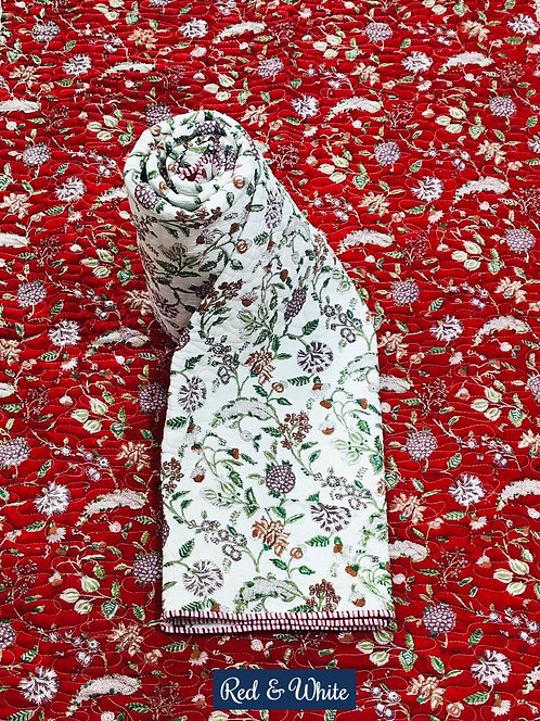 Red & White Hand-Block Print Cotton Reversible Single Bed Comforter