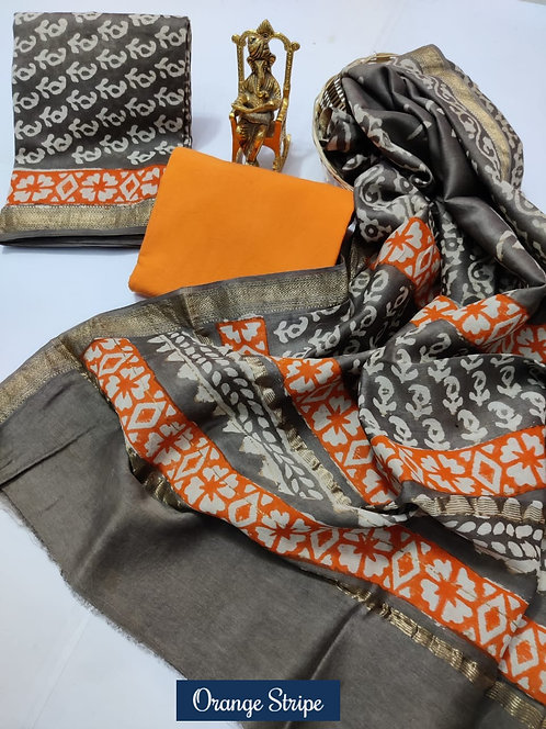 Orange Strip Hand Block Printed Maheshwari Silk Suit with Zari Border
