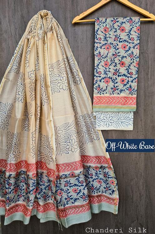 Off White Hand Block Printed Chanderi Silk Suit