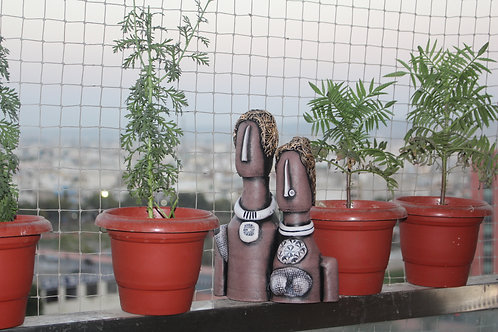 Mud-Brown Terracotta Couple Doll