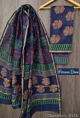Persian Dose Hand Block Printed Chanderi Silk Suit