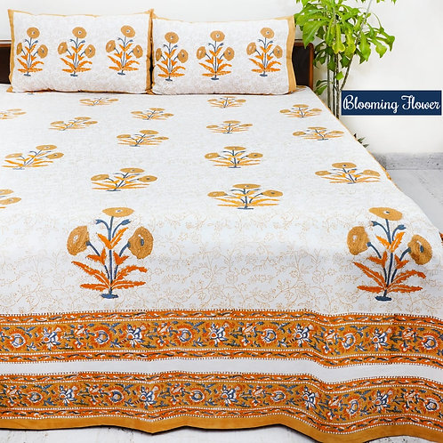 Blooming Flower Hand Block Print Cotton Bed Sheet with 2 Pillow Cover