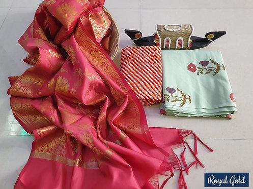 Royal Gold Hand Block Print  Cotton Suit With Exclusive Banarasi Dupatta