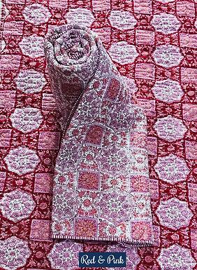 Red & Pink Hand-Block Print Cotton Reversible Single Bed Comforter