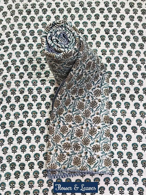 Flower & Leaves Hand-Block Print Cotton Reversible Single Bed Comforter