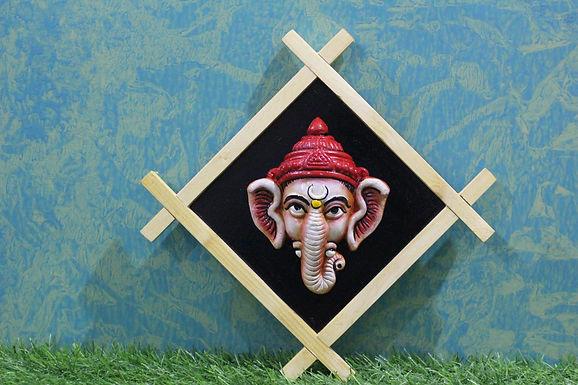 Terracotta 3D Cross Frame Ganesha