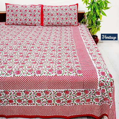 Heritage Hand Block Print Cotton Bed Sheet with 2 Pillow Cover