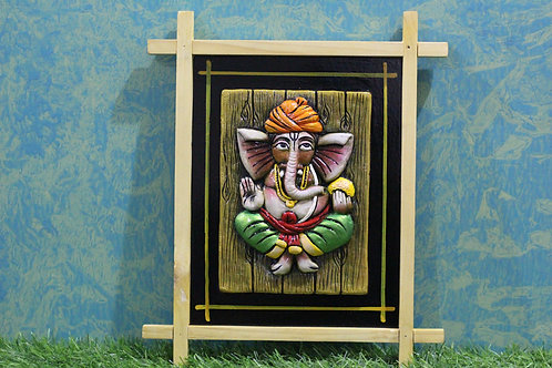 Terracotta 3D Paghri Ganesha