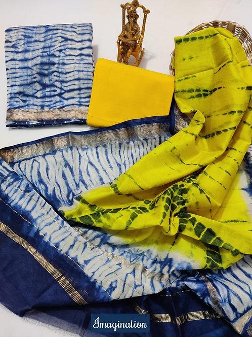 Imagination Hand Block Printed Maheshwari Silk Suit with Zari Border