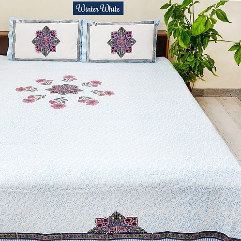 Winter White Hand Block Print Cotton Bed Sheet with 2 Pillow Cover