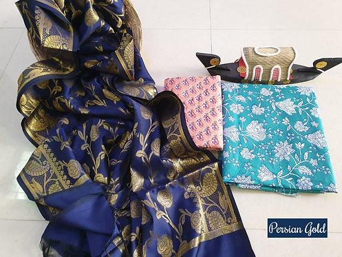 Persian Gold Hand Block Print  Cotton Suit With Exclusive Banarasi Dupatta