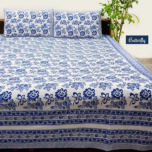 Butterfly Hand Block Print Cotton Bed Sheet with 2 Pillow Cover
