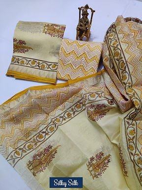 Silky Silk Hand Block Printed Maheshwari Silk Suit with Zari Border