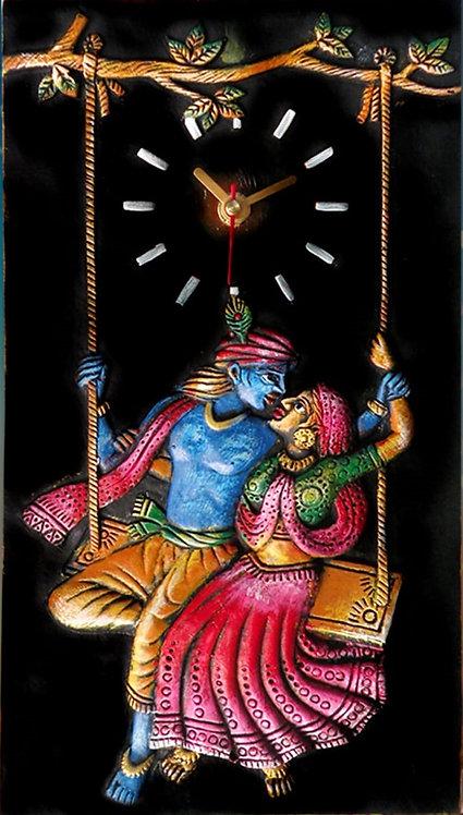 Terracotta 3D Radha-Krishna Wall Clock