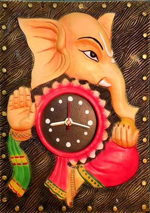 Terracotta 3D  Ladoo Ganesha Wall Clock