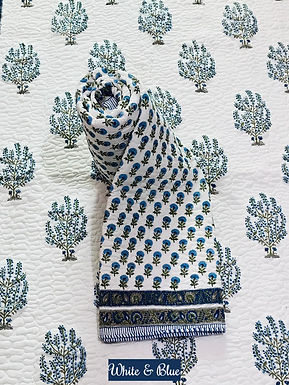 White & Blue Hand-Block Print Cotton Reversible Single Bed Comforter