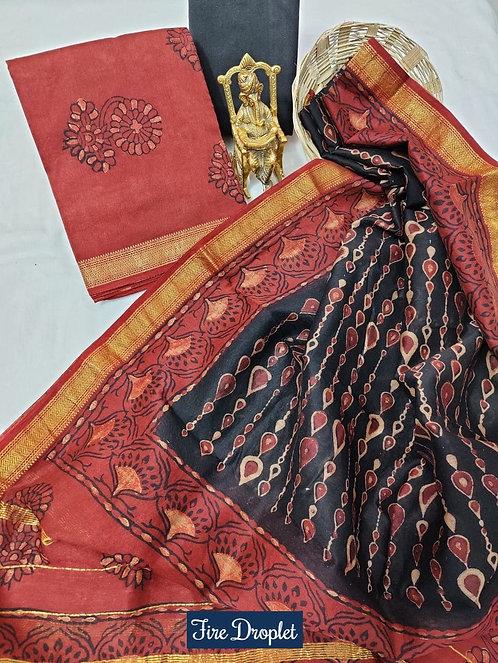 Fire Droplet Hand Block Printed Maheshwari Silk Suit with Zari Border