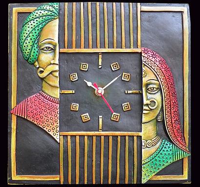 Terracotta 3D  Rajasthani Couple Wall Clock